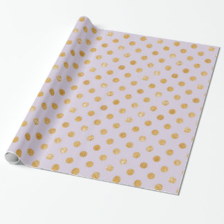 Gold Polka Dot Lavender Wrapping Paper