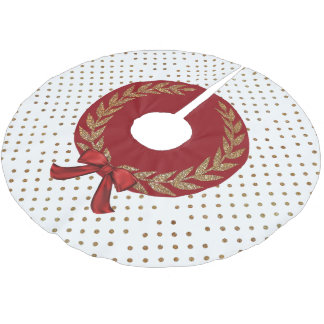 Gold Polka Dot Tree Skirt Brushed Polyester Tree Skirt