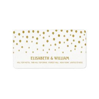 Gold Polka Dot Wedding Address Label
