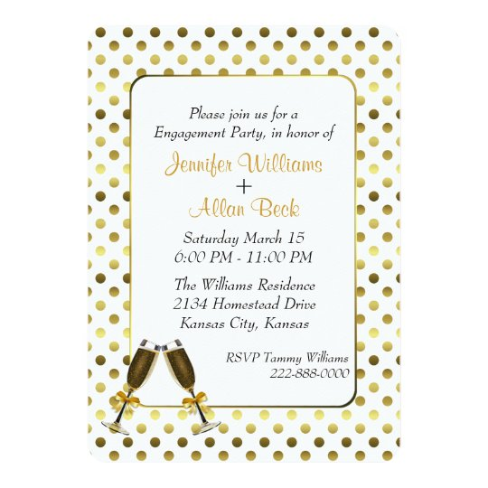 Gold Polka Dot Wedding Engagement Party Invitation