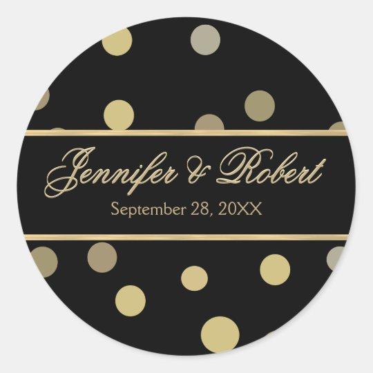 Gold Polka Dot Wedding Sticker