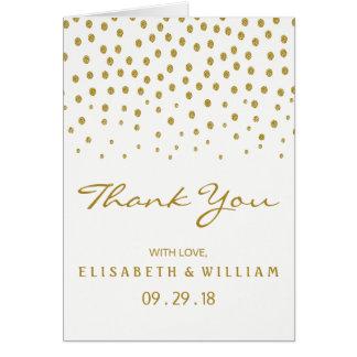 Gold Polka Dot Wedding Thank You Card