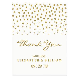 Gold Polka Dot Wedding Thank You Postcard