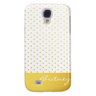 Gold polka dots and monogram - custom galaxy s4 case