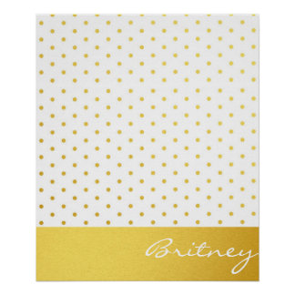 Gold polka dots and monogram - custom poster