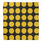 Gold Polka Dots Black Bandanna