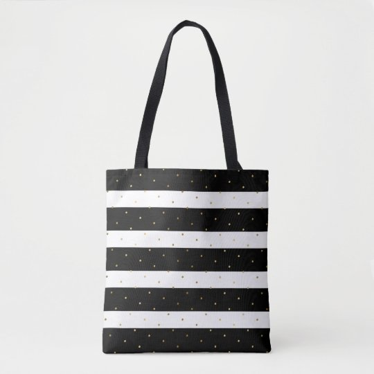 Gold Polka-dots & Black & White Stripes Pattern Tote Bag