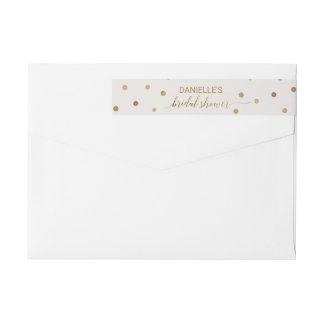 Gold Polka Dots Bridal Shower Wrap Around Label