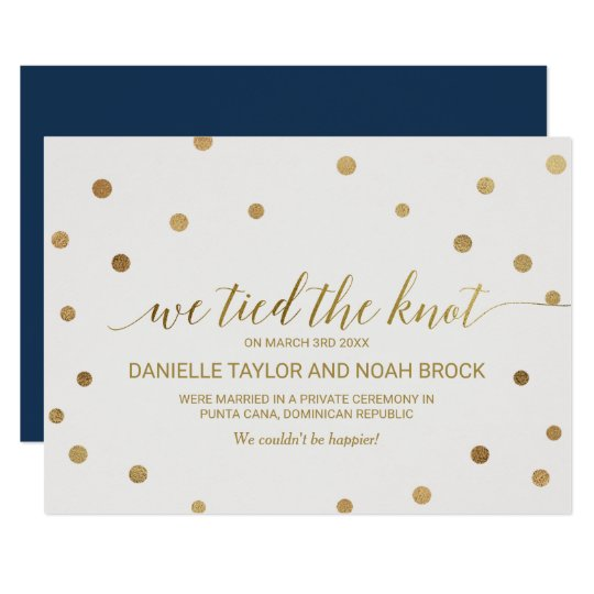 Gold Polka Dots Elopement Announcement