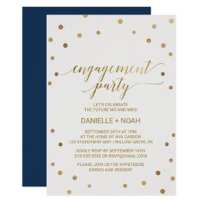 Gold Polka Dots Engagement Party Invitation