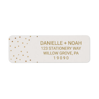 Gold Polka Dots Flowers Wedding Return Address Label