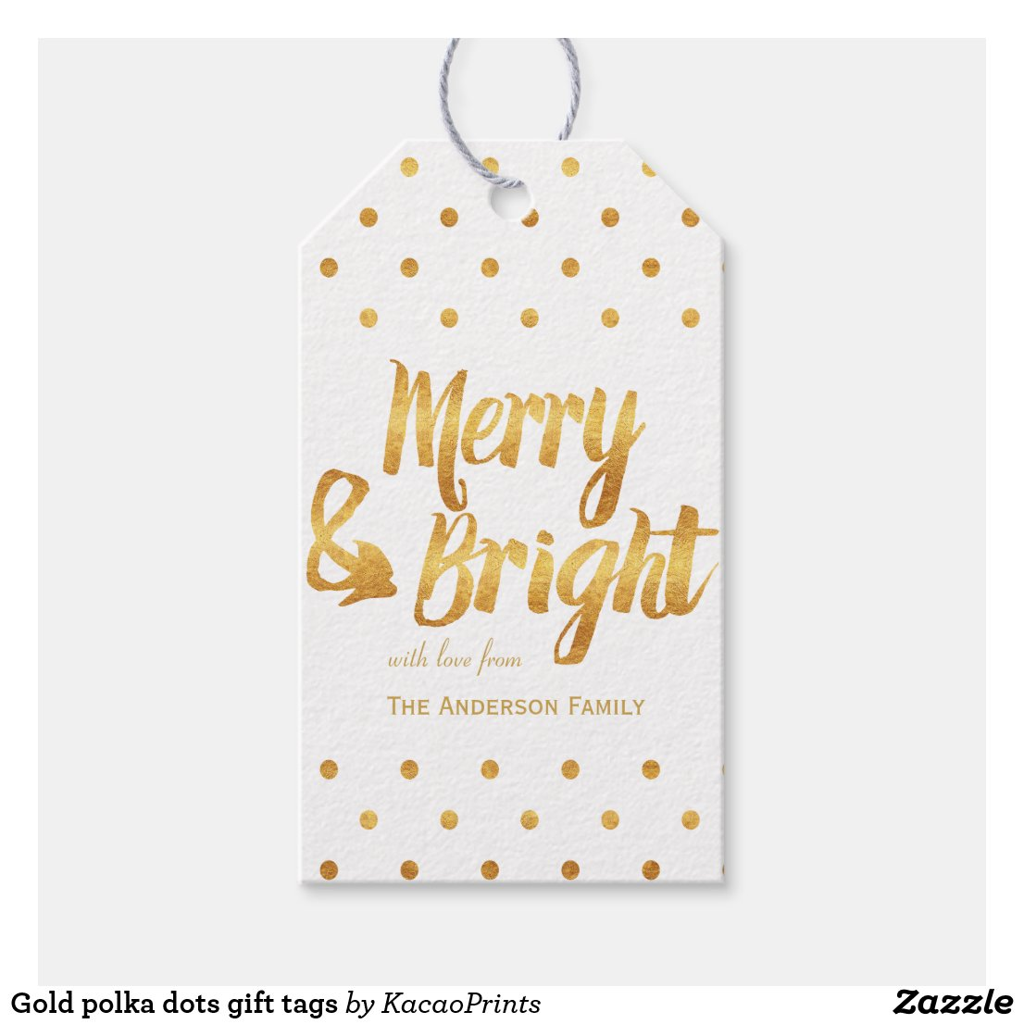 Gold polka dots gift tags