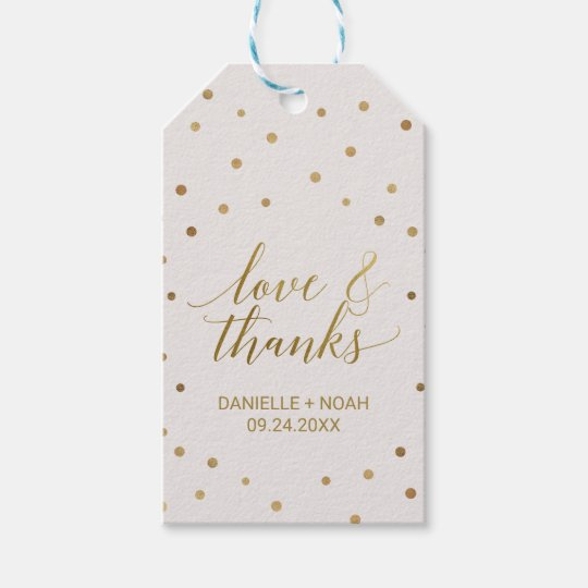 "Gold Polka Dots ""Love & Thanks"" Favour Tags"