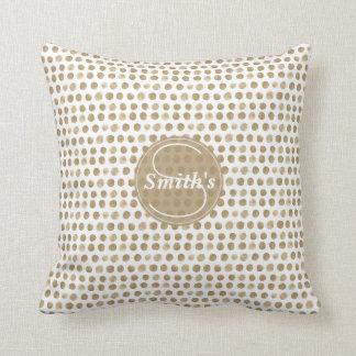 Gold Polka Dots Monogram Throw Pillow