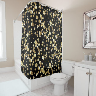 Gold Polka Dots On A Black Background Shower Curtain