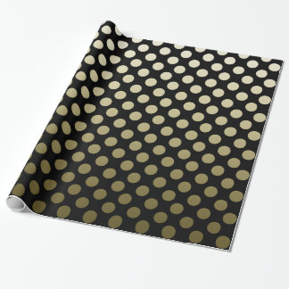 Gold Polka Dots on black Wrapping Paper