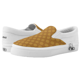 Gold Polka Dots on Gold Slip On Canvas Shoes