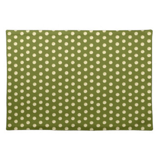 Gold Polka Dots on Olive Green Placemats