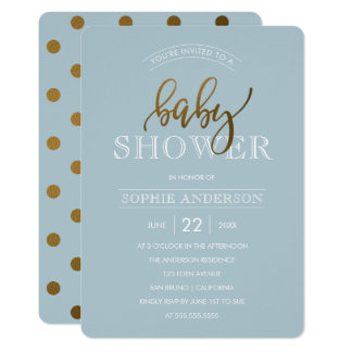 Gold Polka Dots on Pastel Blue | Baby Shower Card