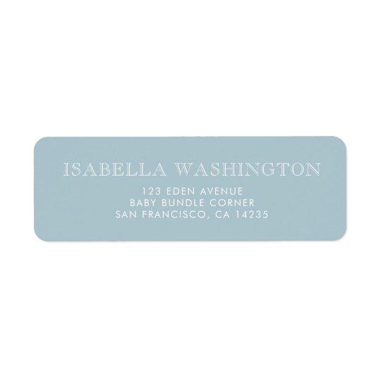 Gold Polka Dots on Pastel Blue   Baby Shower Return Address Label