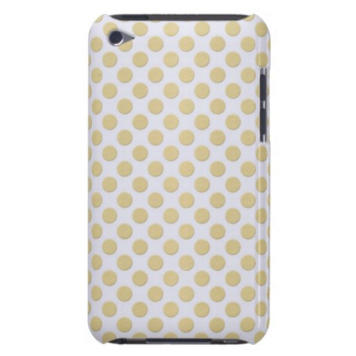 Gold Polka Dots on Silver Barely There iPod Cases