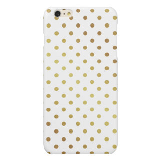 Gold Polka Dots Pattern Cute Chic White iPhone 6 Plus Case