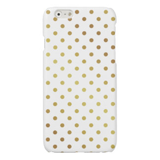 Gold Polka Dots Pattern Cute Chic White Glossy iPhone 6 Case
