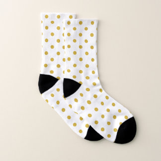 Gold Polka Dots Pattern on White 1
