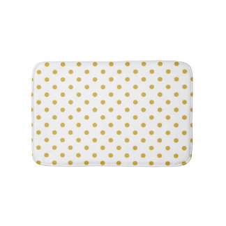 Gold Polka Dots Pattern on White Bath Mat