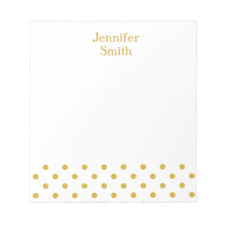Gold Polka Dots Personalized Name Notepad