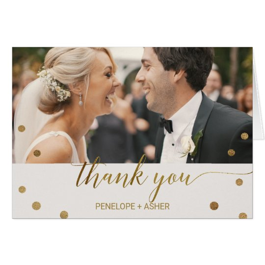 Gold Polka Dots Photo Thank You Card
