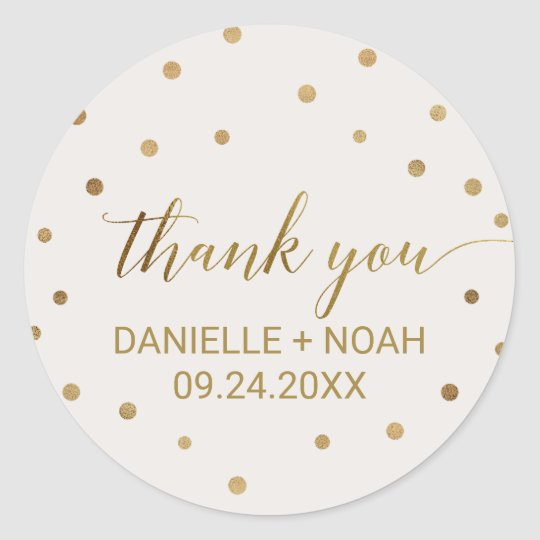 Gold Polka Dots Thank You Favour Classic Round