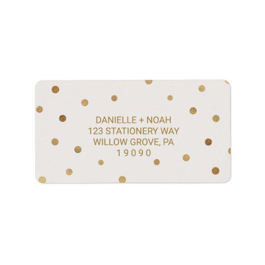 Gold Polka Dots Wedding Address Label