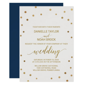 Gold Polka Dots Wedding Card