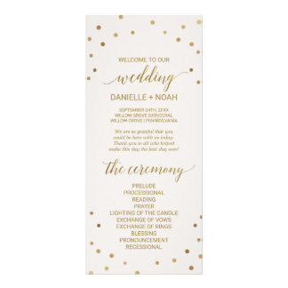 Gold Polka Dots Wedding Program Rack Card