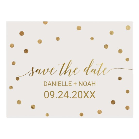 Gold Polka Dots Wedding Save the Date Postcard