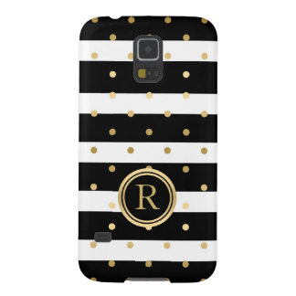Gold Polka-Dots With Black & White Stripes G1 Galaxy S5 Case