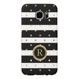 Gold Polka-Dots With Black & White Stripes Samsung Galaxy S6 Cases