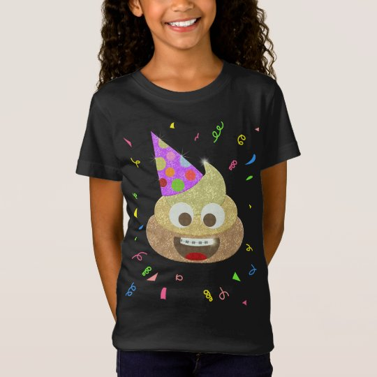 Gold Poop Funny Kids Emoji Birthday Party T-Shirt
