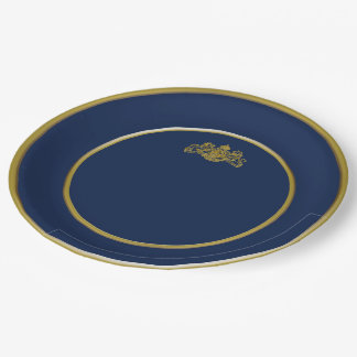 Gold Posh Dieu et Mon Droit British Coat of Arms Paper Plate