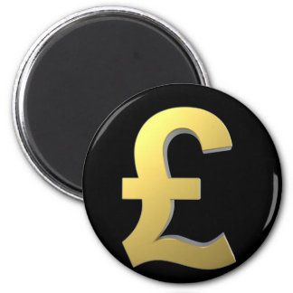 Gold Pound Sign Graphic 6 Cm Round Magnet