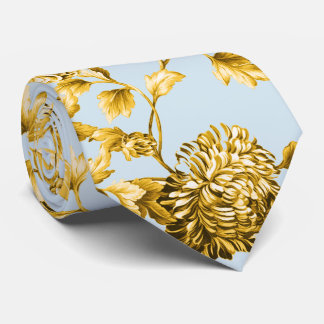 Gold & Powder Blue Modern Botanical Floral Toile Tie