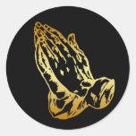 GOLD PRAYING HANDS CLASSIC ROUND STICKER