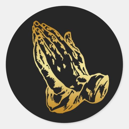 GOLD PRAYING HANDS ROUND STICKERS