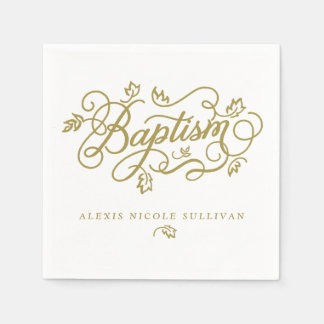 Gold Pretty Calligraphy Script Floral Baptism Disposable Serviette