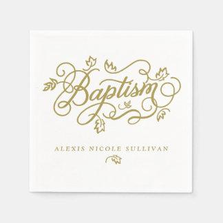 Gold Pretty Calligraphy Script Floral Baptism Disposable Serviette