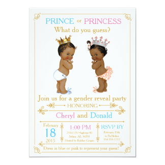 Gold Prince or Princess Gender Reveal Baby Shower Card