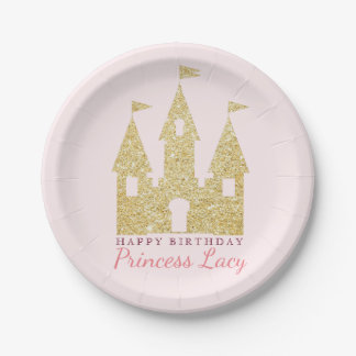 Gold Princess Castle Birthday Party Paper Plate