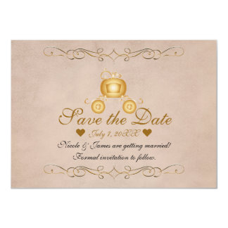 Gold Princess Cinderella Carriage Save the Date Card