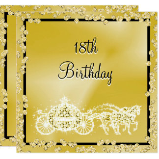 Gold Princess Coach & Horses 18th Birthday Card